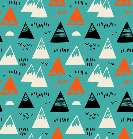 Seamless patttern with triangles. Decorative background with landscape elements. Abstract texture in naive style