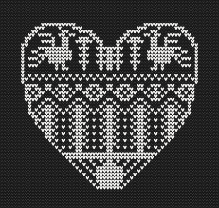 Template with stylized heart in rural style. Vector black and white cartoon for embroidery, knitting. St. Valentine love card Ilustração