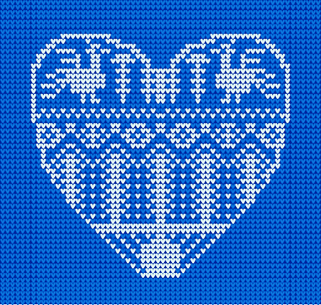 Template with stylized heart in rural style. Vector cartoon for embroidery, knitting. St. Valentine love card on blue background