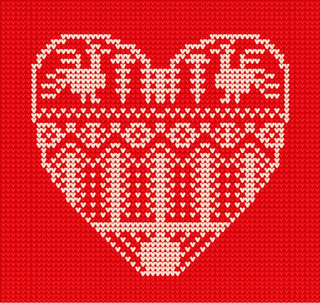 Template with stylized heart in rural style. Vector cartoon for embroidery, knitting. St. Valentine love card Ilustração