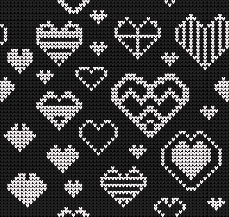 Template with stylized knite texture. Vector black and white cartoon for embroidery, knitting. Decorative seamless background, lovely pattern