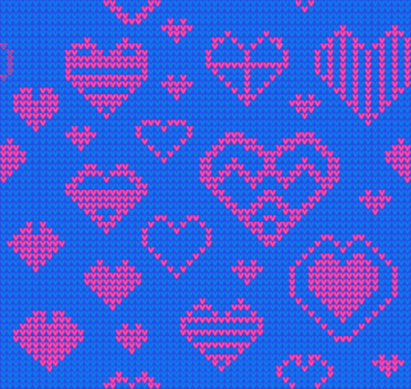 Template with stylized knite texture. Vector blue cartoon for embroidery, knitting. Decorative seamless background, lovely pattern