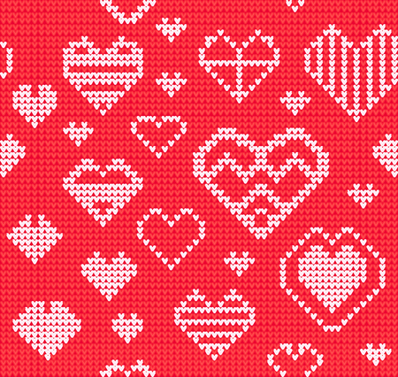 Template with stylized rose knite texture. Vector cartoon for embroidery, knitting. Decorative seamless background, lovely pattern