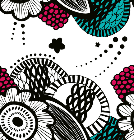 Vector contrast seamless decorative floral pattern. Abstract drawn background. Ink drawn texture