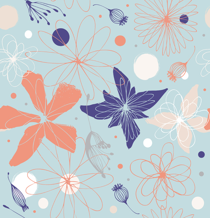 Vector decorative ornate background with fantasy flowers. Retro cute background