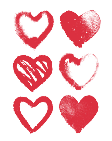 Vector set of red watercolor hearts on white, hand drawn romantic textured symbols of love, design elements Ilustração