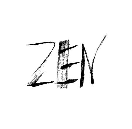 Zen. Ink hand drawn lettering. Grunge vector calligraphy