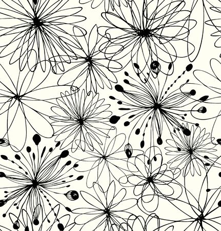 Black drawn background with round fantasy shapes, flowers. Vector abstract pattern, decorative linear texture Illustration