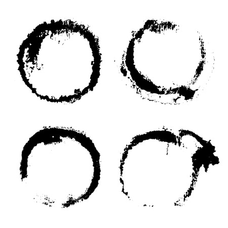 Collection of watercolor circles, black stains on white, handdrawn texture, artistic design elements