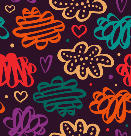 Colorful pattern with hearts and clouds. Decorative pattern in scandinavian style. Vector abstract texture Ilustração