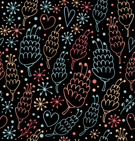 Colorful seamless pattern with flowers and hearts. Fantasy beauty background for prints, textile, scrapbooking, craft papers. Wallpapers Ilustração
