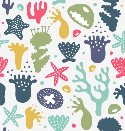 Coral reefs seamless pattern, decorative cute background, vector nautic texture, sealife