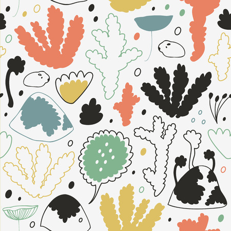 Cute nordic forest, scandinavian seamless vector pattern. Decorative cosiness background