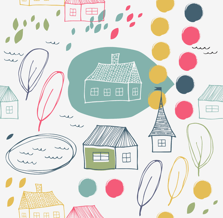 Cute rural landscape with houses and trees. Grunge vector background. Seamless decorative pattern Banco de Imagens - 82014676