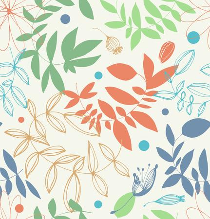 Decoratief bloemen naadloos patroon in bleke kleuren. Vector grafische achtergrond met bladeren en takken
