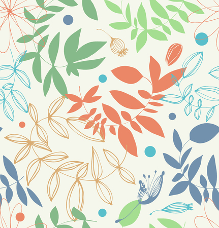 Decorative floral seamless pattern in pale colors. Vector graphic background with leaves and branches
