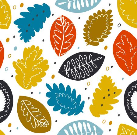 Floral seamless vector pattern, colorful texture with nature motiffs. Decorative nature background Illustration