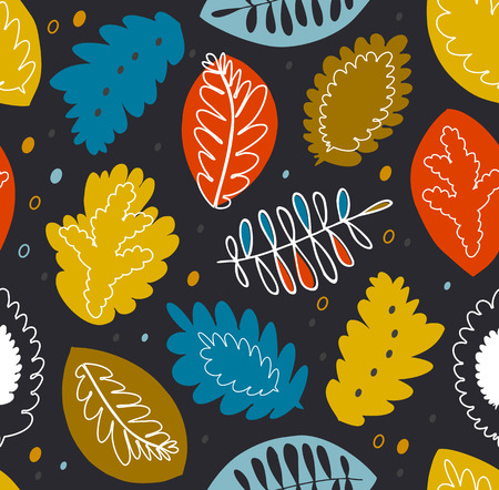 Floral seamless vector pattern, colorful texture with nature motiffs. Decorative nature ornament on black background
