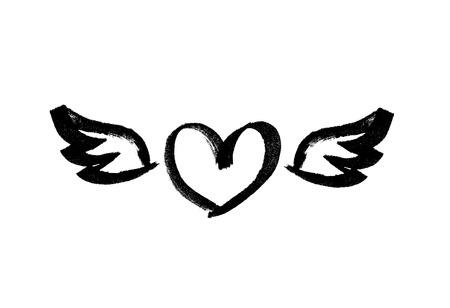 Hart met vleugels. Liefdes symbool. Inkt handgetekende letters. Grunge vector kalligrafie. Tattoo sjabloon