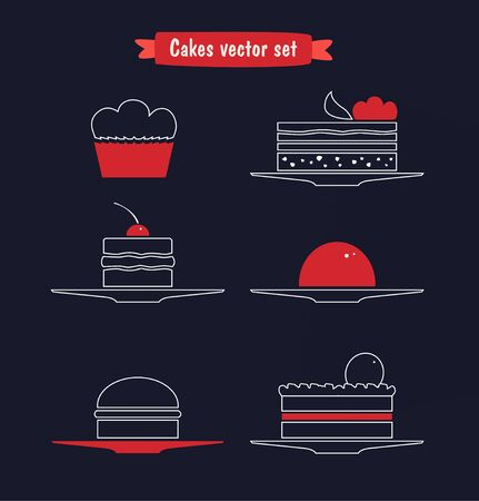 Icons vector linear set of different sweets, biscuits, cakes. Cute bakery collection Ilustração