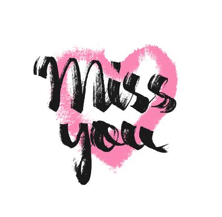Mis je. Inkt hand getrokken belettering met roze hart. Grunge vector kalligrafie. Liefdesbrief. Romantisch bericht Stock Illustratie