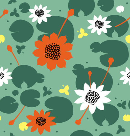 Seamless floral pattern with flowers, water lilies, lotus. Vector decorative background, pond surface Ilustração