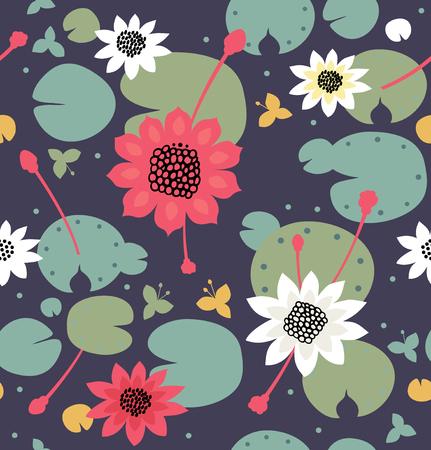 Naadloze bloementextuur met bloemen, waterlelies, lotusbloem, aard modieus patroon. Vector decoratieve achtergrond, vijveroppervlakte Stock Illustratie