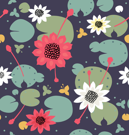 Seamless floral texture with flowers, water lilies, lotus, nature stylish pattern. Vector decorative background, pond surface