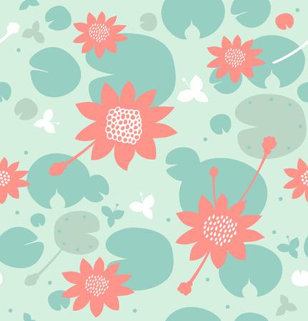 Naadloos natuurlijk patroon met bloemen, waterlelies, lotus. Vector decoratieve achtergrond in pastelkleuren