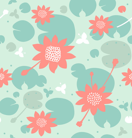 Seamless natural pattern with flowers, water lilies, lotus. Vector decorative background in pastel colors Illustration