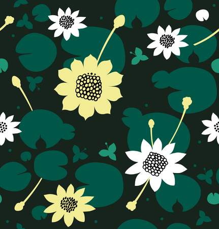 Seamless natural pattern with flowers, water lilies, lotus. Vector decorative background, pond surface Illustration