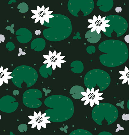 Seamless natural pattern with white and gray flowers, water lilies, lotus. Vector decorative background Ilustração