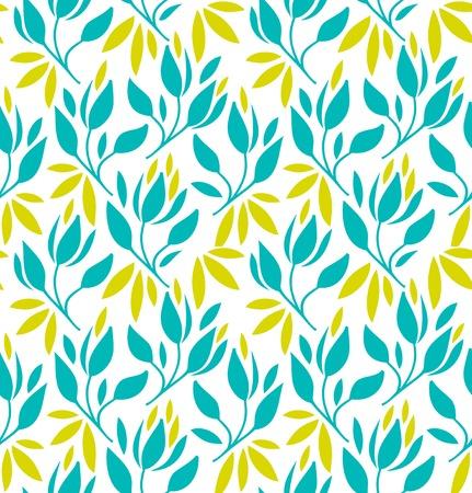 Naadloos patroon met bloemen en bladeren. Vector bloemenachtergrond Stock Illustratie
