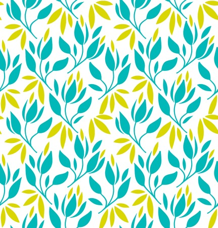Seamless pattern with flowers and leaves. Vector floral background Ilustração