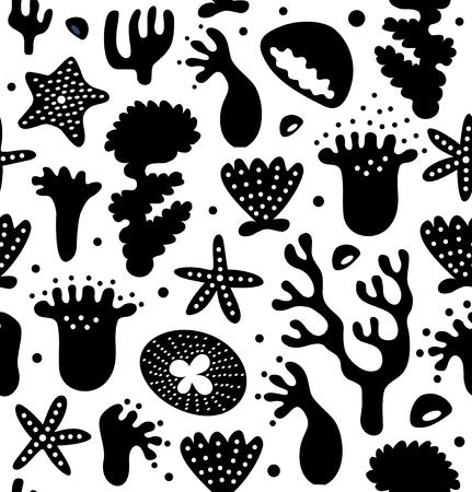 Coral reefs seamless pattern, decorative tropical marine background, vector cartoon design