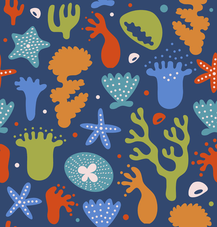 Colorful coral reefs seamless pattern, decorative tropical marine background, vector nautical texture