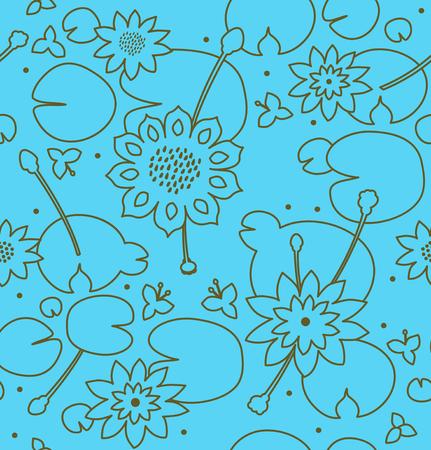 Contour lichte naadloze bloemtextuur met bloemen, waterlelies, lotusbloem, aard modieus patroon. Vector decoratieve achtergrond, vijveroppervlakte Stock Illustratie