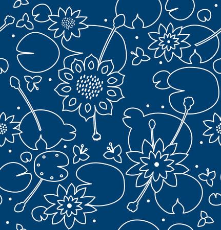 Contour naadloze bloementextuur met bloemen, waterlelies, lotusbloem, aard modieus patroon. Vector decoratieve achtergrond, vijveroppervlakte