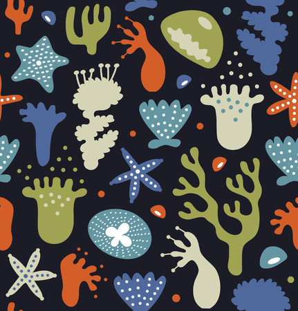 Coral reefs seamless pattern, decorative tropical background, vector nautic texture, sealife