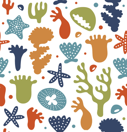 Coral reefs seamless pattern, decorative tropical marine background, vector nautic texture