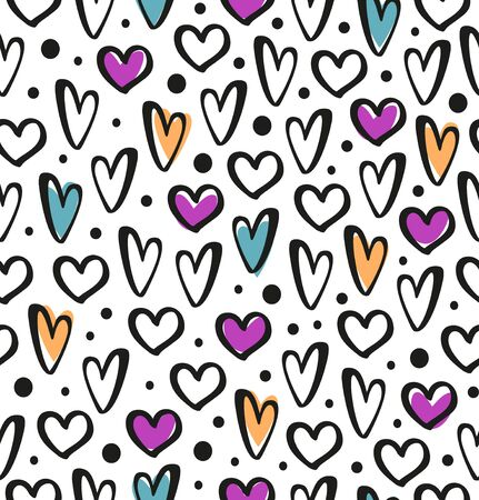 Drawn hearts on seamless background