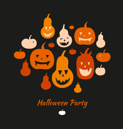 Halloween vector card with angry pumpkins. Decorative banner with group of funny pumpkins. Set with vector silhouettes