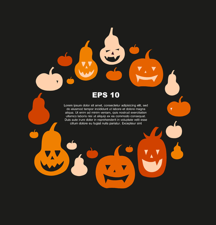 Halloween vector card with angry pumpkins. Decorative banner with round group of funny pumpkins. Collection with vector silhouettes Illustration
