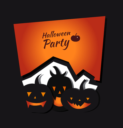 Halloween vector invitation card with angry pumpkins. Decorative banner with group of funny pumpkins Illustration