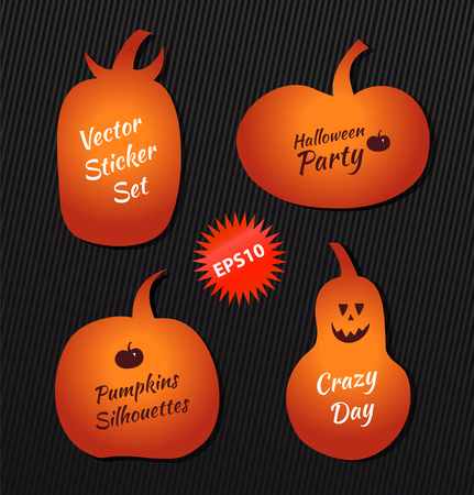 Halloween vector stickers angry pumpkins. Collection with decorative funny pumpkins silhouettes