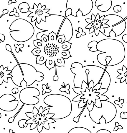 Linear seamless floral texture with flowers, water lilies, lotus, nature stylish pattern. Vector decorative background, coloring book template Illustration