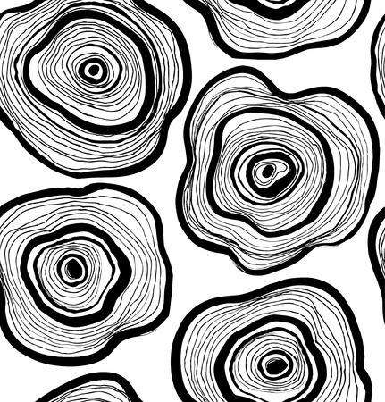 Seamless abstract pattern, artistic texture, drawn background with circles, wood slice