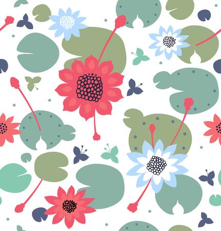 Naadloze bloementextuur met bloemen, waterlelies, lotusbloem, natuurlijk modieus patroon. Vector decoratieve heldere achtergrond, vijveroppervlakte Stock Illustratie