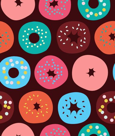 Seamless pattern with donuts, vector texture with cakes, decorative sweet background
