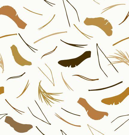 Naadloos patroon met naalden en zaden. Aard grafische achtergrond, vectortextuur